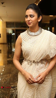 Actress Rakul Preet Singh Stills in White Dress at Winner Pre Release Function  0011.jpg