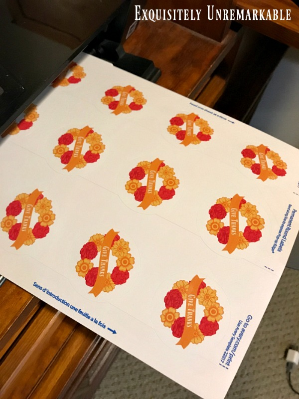 Printed sheet of give thanks stickers