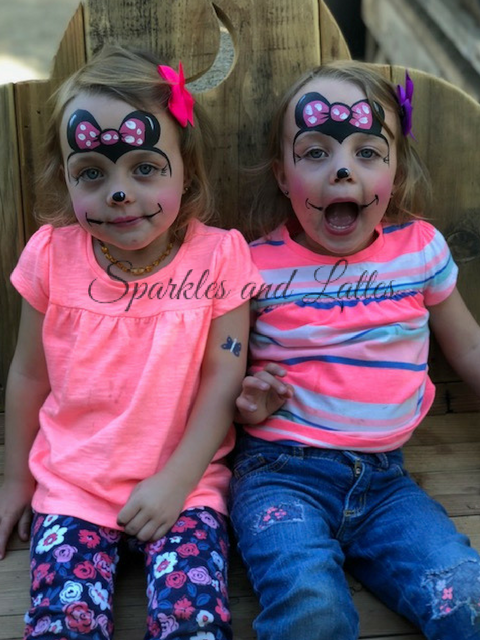 twins dressed up as minnie mouse