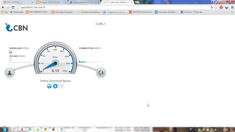 test kecepatan internet dengan cbn speedtest