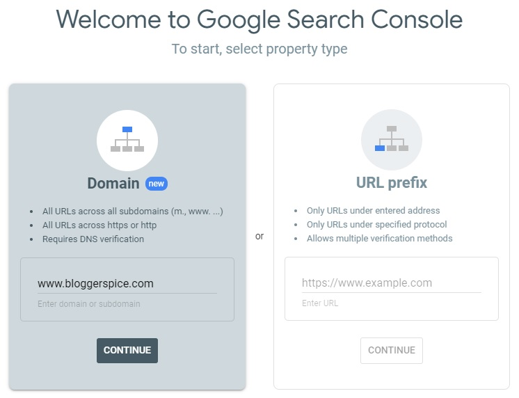 Google search console domain verification