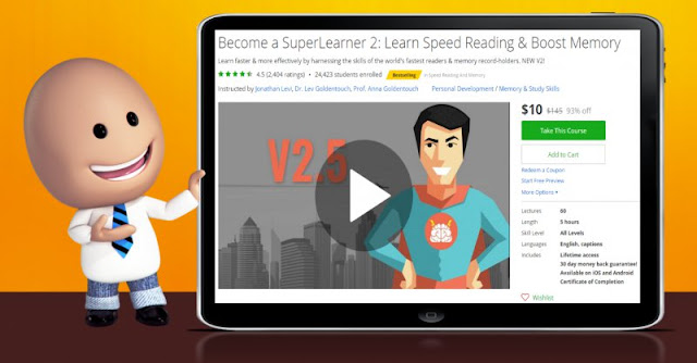 [93% Off] Become a SuperLearner 2: Learn Speed Reading & Boost Memory| Worth 145$