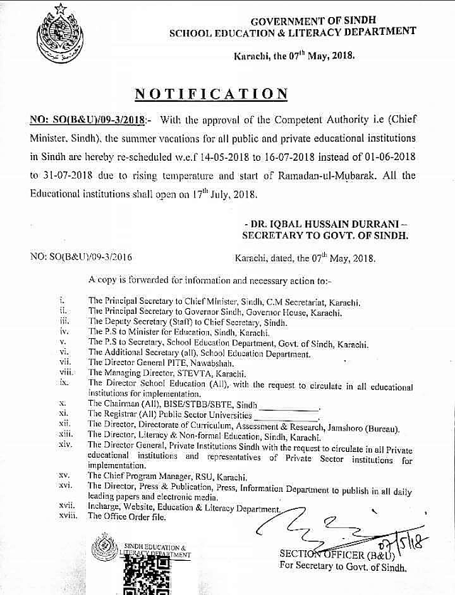 SUMMER VACATIONS FOR EDUCATIONAL INSTITUTIONS OF SINDH
