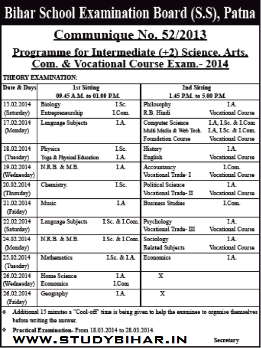 theory and practical exam routine programme for
