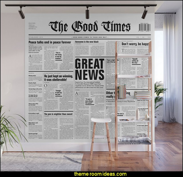 The Good Times Vol. 1, No. 1 / Newspaper with only good news Wall Mural   newsprint bedding - newsprint decor - decorating ideas with newsprint bedding - newsprint bedding - newspaper wallpaper - newsprint  decor - newsprint murals - Newspaper print newspaper walls - newsprint bedroom decorating ideas - newsprint home decor