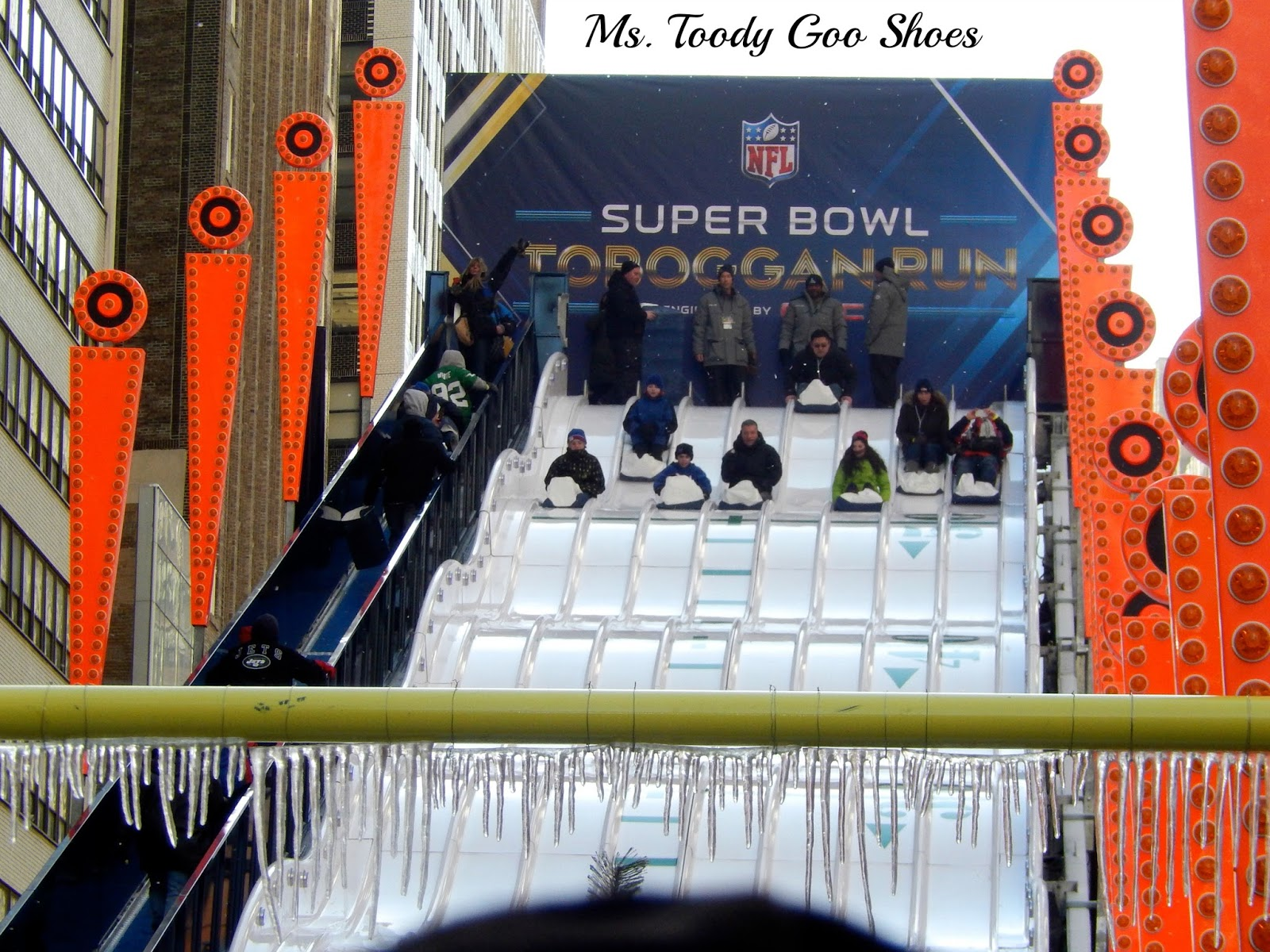A Walk Down Super Bowl Boulevard in New York City ---by Ms. Toody Goo Shoes