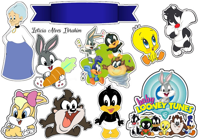 Baby Looney Tunes Free Printable Cake Toppers.