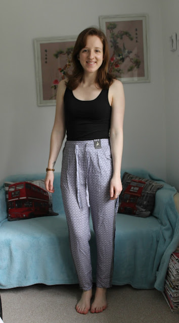 Winter Primark and Pull & Bear Haul, Trousers, Blue Tile Print, Summer Trousers, Fashion, Blog, Blogger,