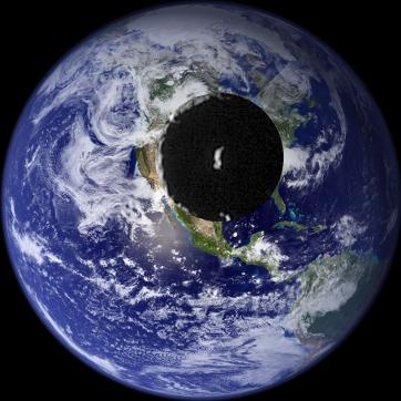 El tamaño del cráter proporcional en la Tierra