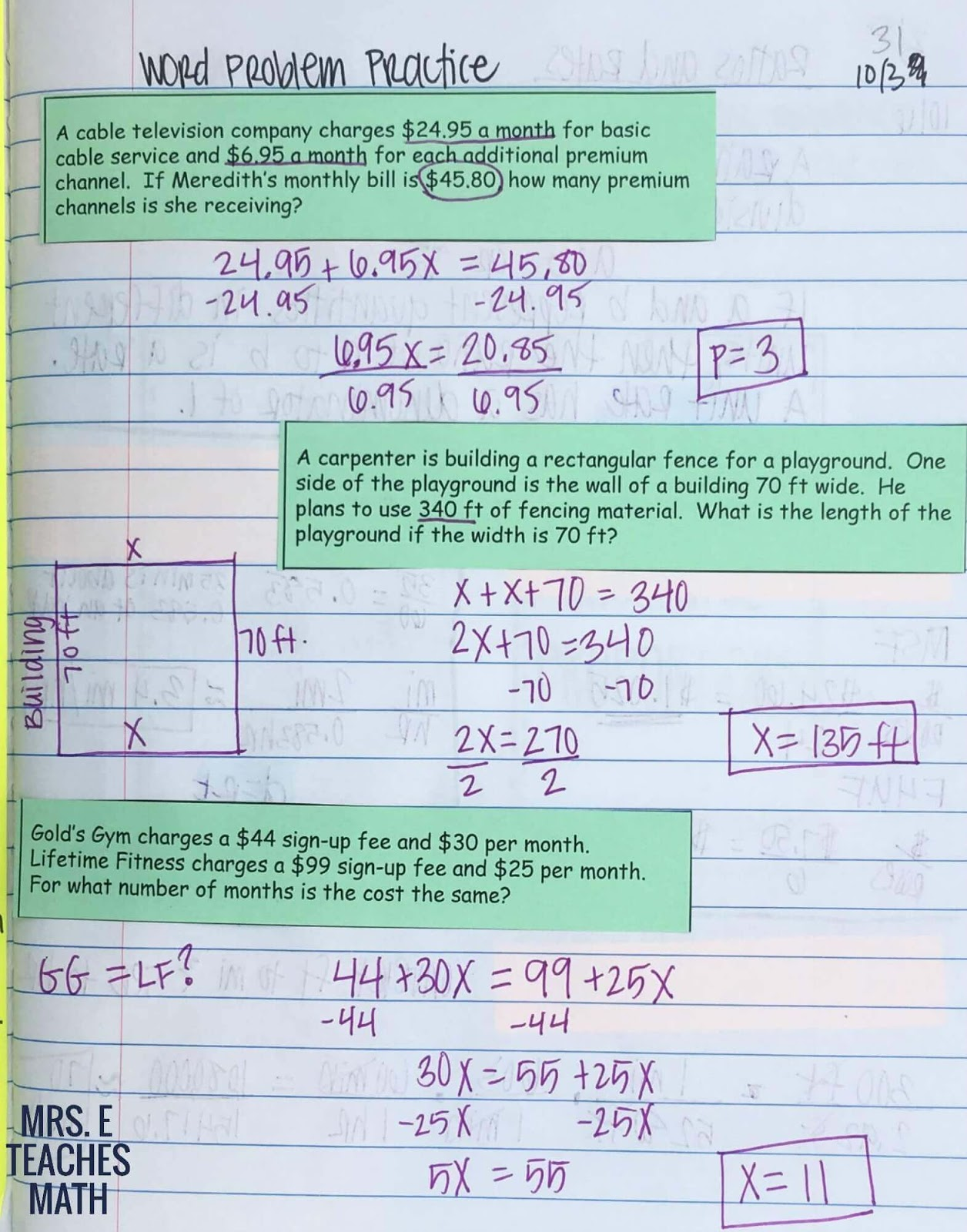 Solving Equations INB Pages | Mrs. E Teaches Math