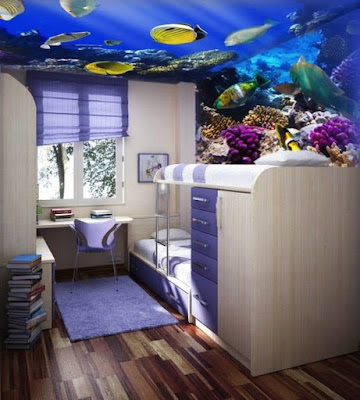 3D ceiling wallpaper designs for kids room