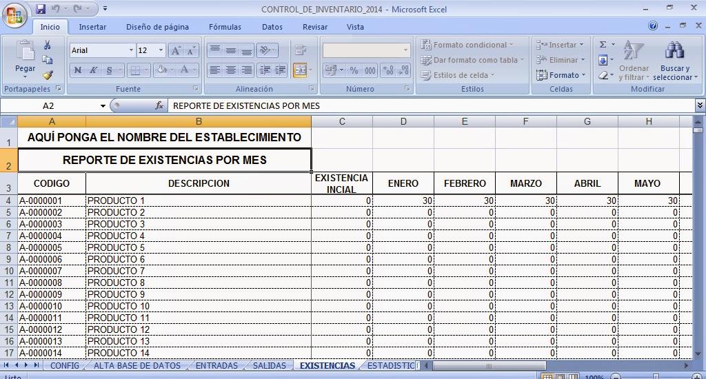 Control de inventarios en excel control de kardex en for Formatos y controles para restaurantes gratis