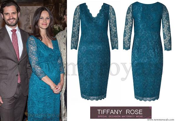 Princess Sofia Hellqvist wore Tiffany Rose Chloe Maternity Lace Dress and By Ti Mo Hairy Faux Fur Aviator Jacket - Prince Carl Philip