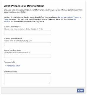 Mengaktifkan Facebook Nonakif