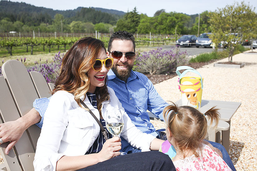 Amy West and family enjoy Easter on the grounds of Comstock Wines