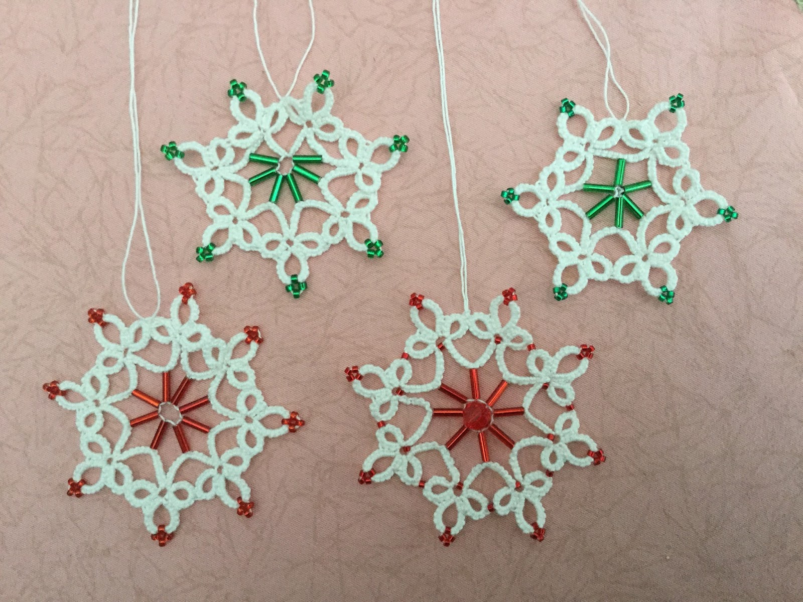 Tatting and not a lot else!: Mary\'s snowflakes and maple leaf.