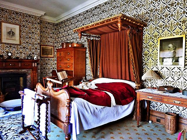 Victorian bedroom at Lanhydrock House, Cornwall