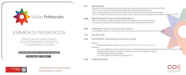 La Universidad de Murcia presenta una guía de salidas profesionales de sus titulaciones.