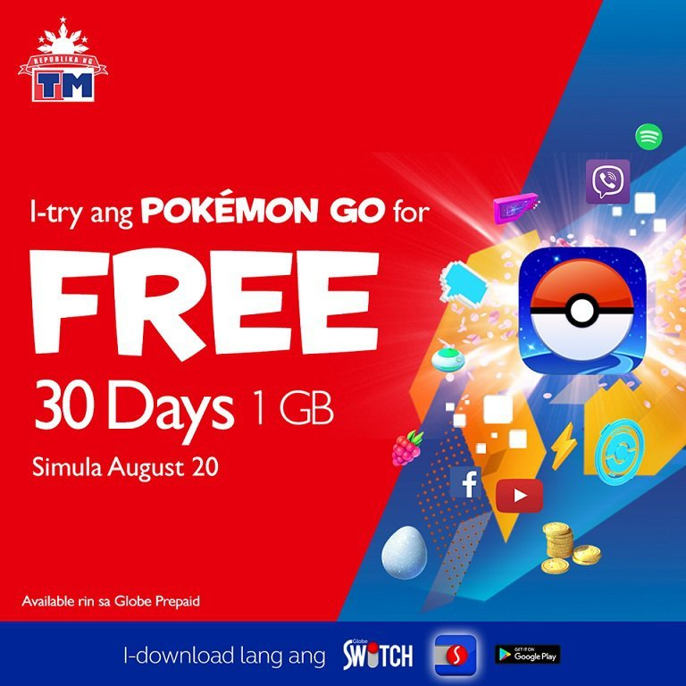 Free 30 days Pokemon GO access for Globe and TM