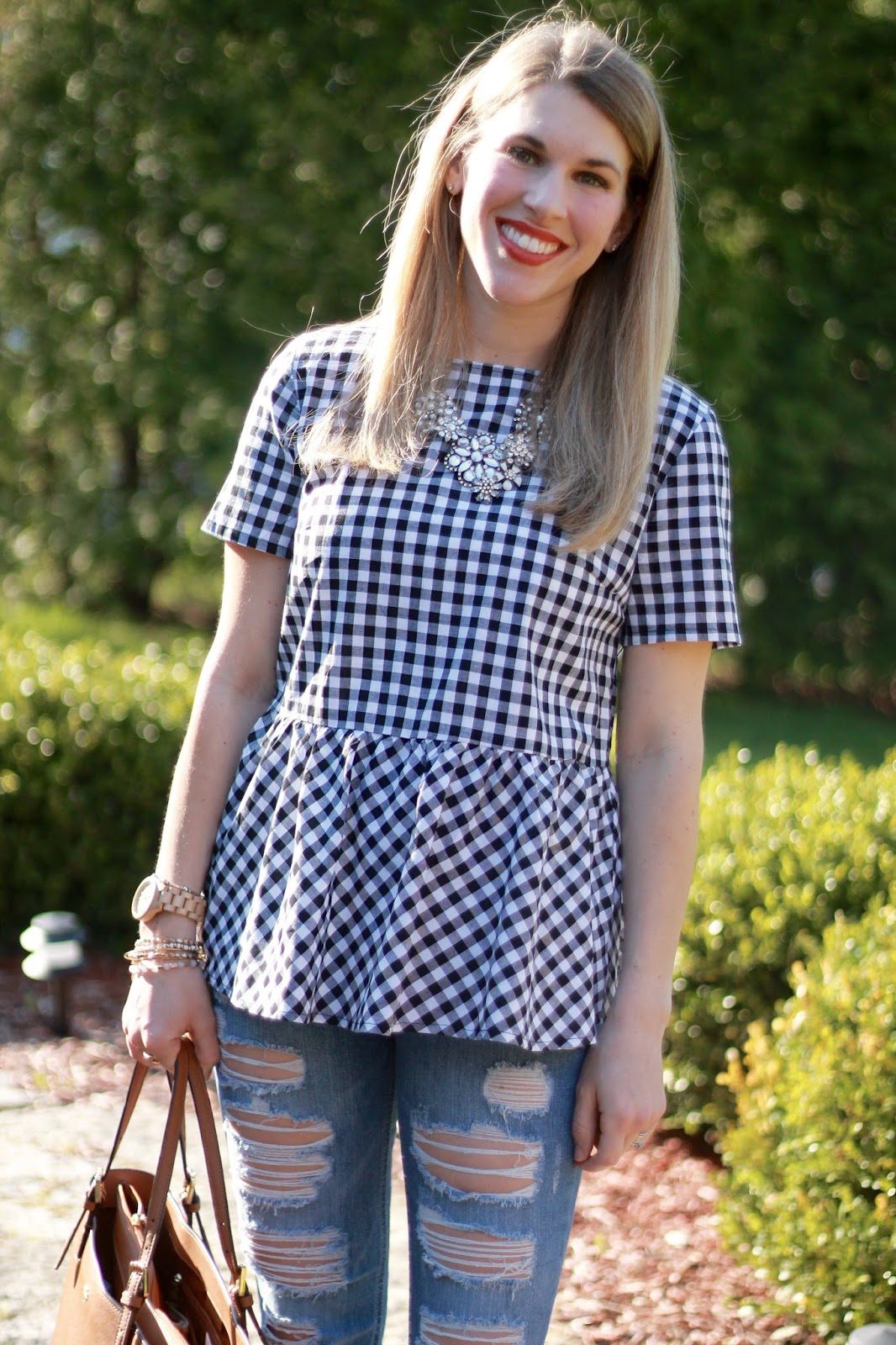gingham bow back top, distressed jeans, Steve Madden wedge sandals