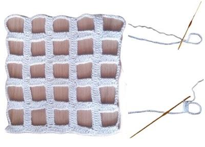 Punto crochet en cuadricula calada patrón geométrico