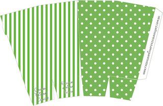 Verde con Lunares Blancos: Cajas para Imprimir Gratis.