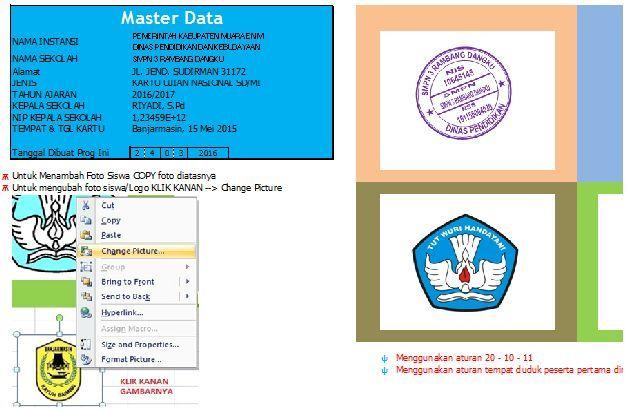 gambar Aplikasi Cetak Kartu Ujian Sekolah (US) dan Ujian Nasional (UN) Excel
