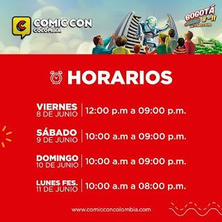 Horarios COMIC CON Bogotá No. 1 2018