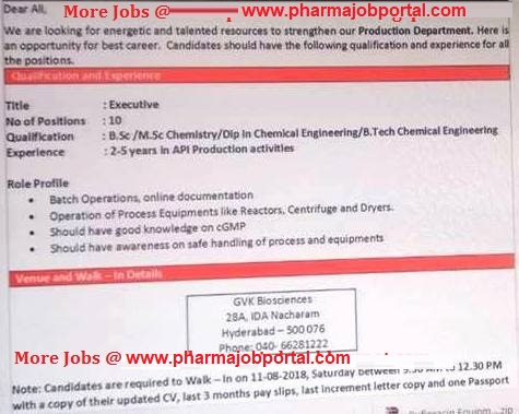 GVK Biosciences  Walk In Interview For B.Sc, M.Sc, Diploma, B.Tech at 11  August