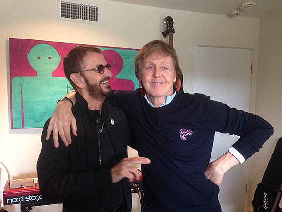 Les ex-Beatles Ringo Starr et Paul McCartney réunis en studio
