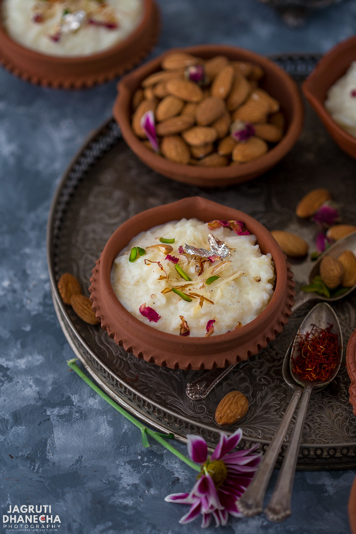 Kheer - Indian style rice pudding is one of the oldest and classic Indian dessert or pudding you can find that is utterly delicious and divine. A dessert that is made from staple ingredients such as milk, rice and sugar, but once flavoured, this creamy and rich dessert with cardamom or saffron and adorned with slivered nuts and garnished with edible silver foil, this Indian dessert is fit enough for a royal menu.