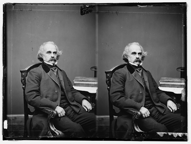Stereoscopic portrait of Nathaniel Hawthorne (circa 1860-1865)