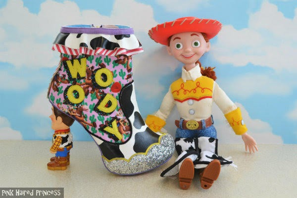 outer side of woody ankle boot sitting next to large jessie doll