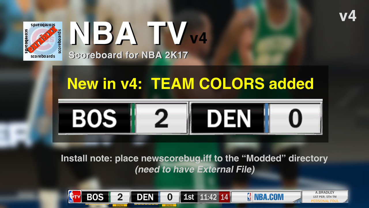 DNA Of Basketball | DNAOBB: NBA 2K17 NBA TV Scoreboard v4 (Team Colors added) by exrxixxx