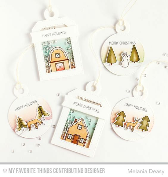 Handmade tags from Melania Deasy featuring Winter Wonderland stamp set and Die-namics, and Tag Builder Blueprints 4 Die-namics #mftstamps