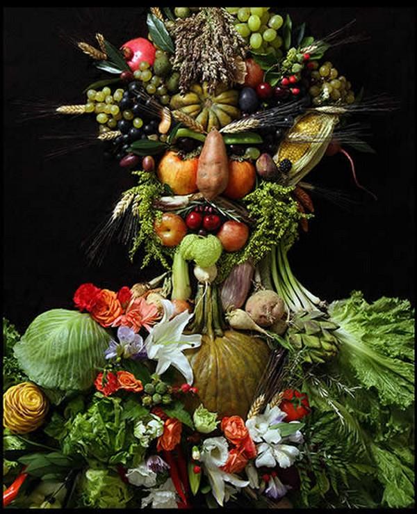 Портреты из фруктов и цветов