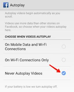 Facebook autoplay videos disable