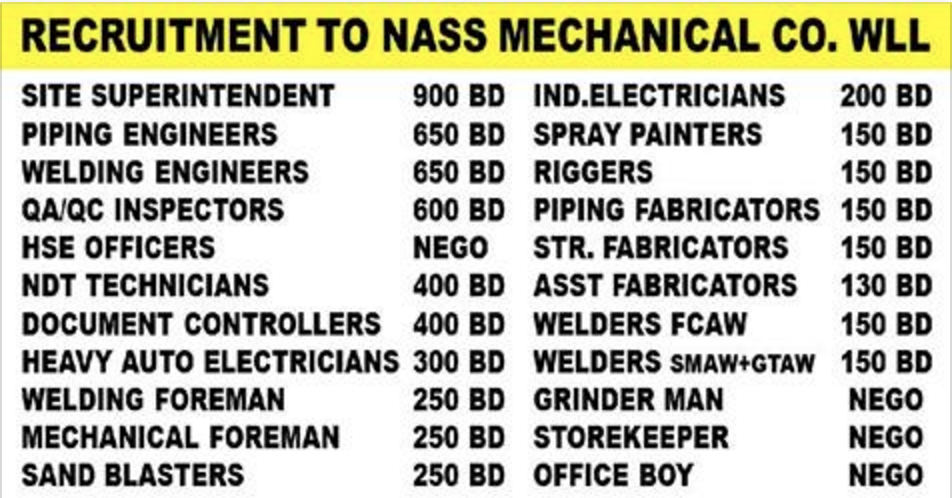GULF JOBS - NASS MECHANICAL CONTRACTING COMPANY - URGENT