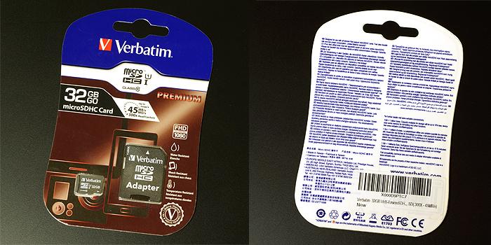 Verbatim microSDHCカード32GBの製品パッケージ