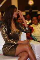 Pooja Hegde looks glamarous in deep neck sleevless short tight golden gown at Duvvada Jagannadham thank you meet function 025.JPG