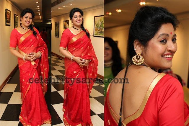 Sana Red Plain Silk Saree