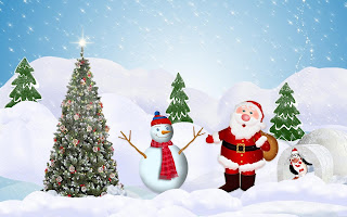 Santa with snowman cartoon picture for kids - 2560x1600