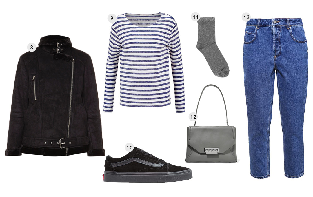 Topshop shearling biker coat, blue striped top, velvet vans, mom jeans, glitter socks, weekday, zalando