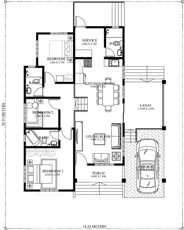 10 bungalow single story modern house with floor plans for Free 3 bedroom bungalow house plans