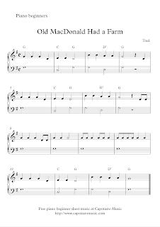 Free Easy Beginner Piano Sheet Music Old Macdonald Had A Farm