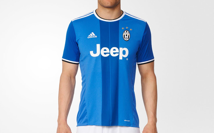 1b293ff6d60 1 of 3. 2 of 3. 3 of 3. 1 of 3. The sleeves of the new Juventus 2016-2017  away shirt are solid blue with black-and-white cuffs ...
