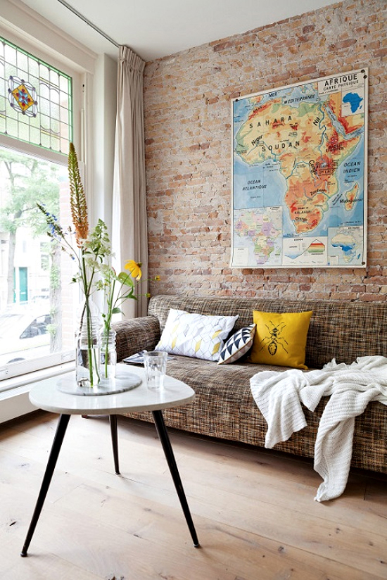 Safari Fusion blog | Map it | Vintage Africa Map industrial style in a Rotterdam home via VTWonen magazine