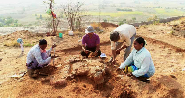 Rare life-size stucco sculpture unearthed in India's Suryapet district