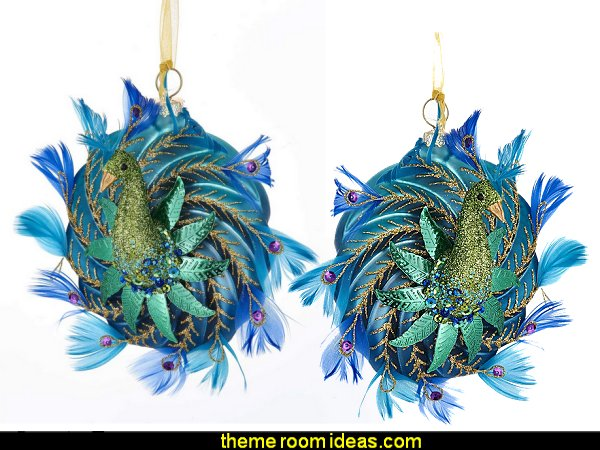 PEACOCK ORNAMENT  peacock color Christmas decorating - peacock color decorations - peacock themed Christmas - Peacock Tree Theme - peacock christmas tree decorations - Peacock Decorations - Peacock Tree Theme decorating Christmas Peacock - christmas feathered Peacock Christmas Ornaments - Peacock themed Christmas