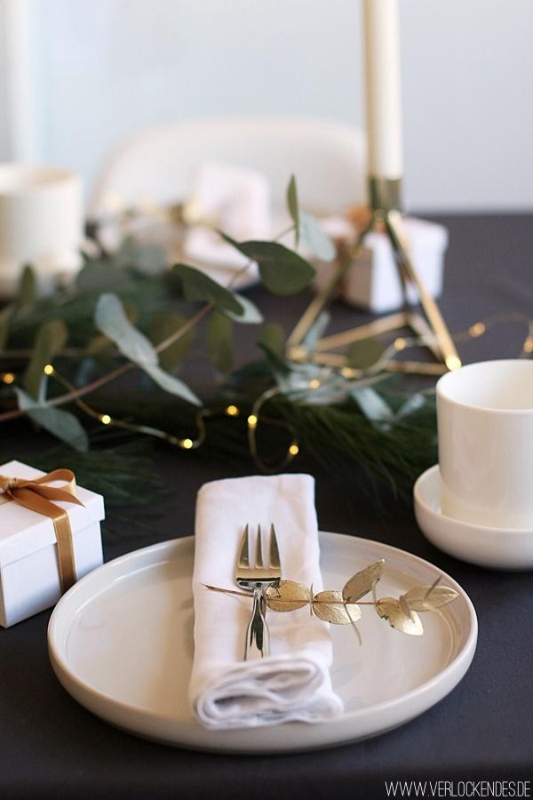 weihnachtliche Tischdeko gold weiß Eukalyptus